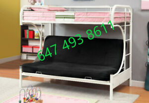 BRAND NEW FUTON BUNK BED (AVAILABLE IN 3 COLORS) - TWIN/DOUBLE