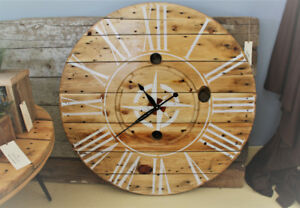 LARGE RUSTIC DECOR CLOCK, HANDCRAFTED, WEDDING GIFT IDEA