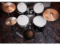 Manhattan Drum Kit, good condition, upgraded to Remo skins, £160