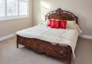 Antique Carved Bed - Real Sheesham Wood from Pakistan QUEEN Size