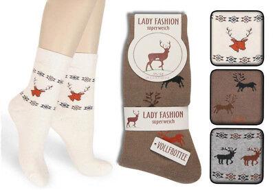 6 Paar Damen Thermo Socken mit Hirsch Motiv Super Warm Vollfrottee Art 222