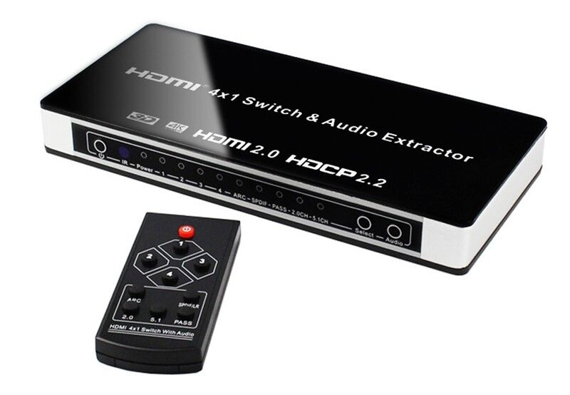 4x1 HDMI 2.0 Switch Switcher Video Converter Audio Extractor