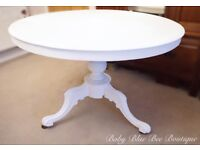 Vintage French Ornate Dining Table White Antique