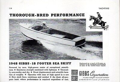 1948 Print Ad Gibbs 18' Sea Skiff Boats Jacksonville,FL