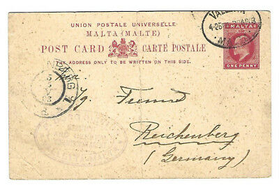 Alte Postkarte - Malta - gel 1903  - Dresden