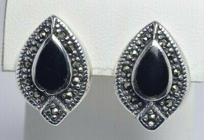 Sterling Silver Marcasite & Bezel Set Onyx Pear Push Back Earrings 14mm x 20mm for sale  Hanover