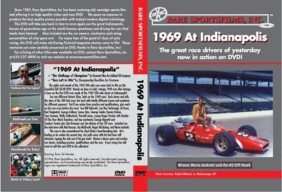 1969 Indy 500-Mile Race in COLOR, Mario Andretti - two films on DVD!
