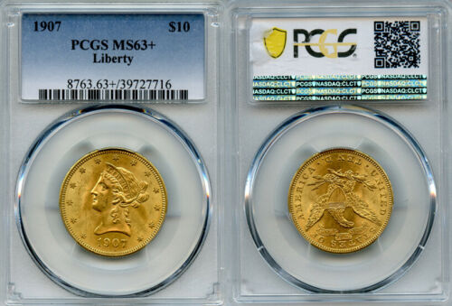 1907 $10 Gold Coin PCGS MS63+