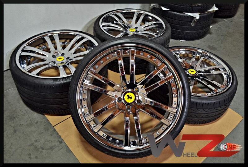 "Savini Sv35c 21"" 22"" Staggered Chrome Wheels Rims Pirelli Tires Fits Ferrari"