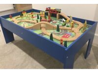 Wooden Chad valley table, train set and accessories.