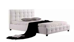 PU Leather Queen Bed Frame Button Tufted Headboard Black/White Sydney City Inner Sydney Preview