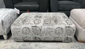 DFS Vettel stamp print fabric large Footstool