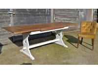 *FREE DELIVERY*Vintage Draw Leaf Extending Oak Farmhouse Refectory Table ~ Pantry White Chic Shabby