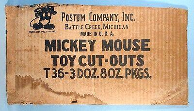 1934 Mickey Mouse Post Toasties Shipping Carton Panel Walt Disney Postum Cereal