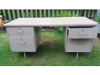 industrial vintage sewing/art and crafts desk with storage - metal and wood