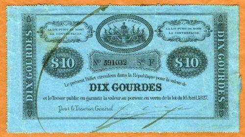 Haiti, 10 Gourdes, L.1827 P-36, VF > Hand Signed