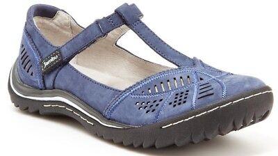 Jambu Women's Bridget Leather T-Strap Flat Denim Blue (Choose Size) Denim Leather Flats