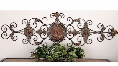 Large Tuscan Old World Decorative Scroll Wrought Iron Wall Grille Art Plaque - Old Iron Wall