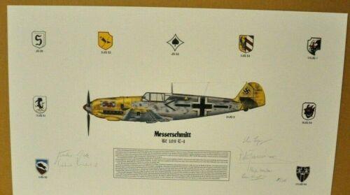Messerschmitt BF 109 E-4 Fact sheet signed by Gunther Rall  & 6 other pilots