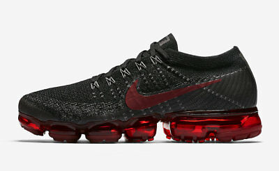 Men's Nike Air VaporMax Flyknit Black Red Running Shoes training