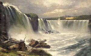 Stunning Oil painting Gilbert Munger - Great landscape Niagara Falls 24