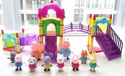 Movie Figures Peppa Pig Family   Friends With Big Sliding Amusement Park Tv Toys