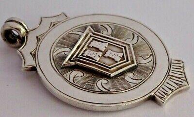 Superb vintage solid sterling silver pocket watch albert chain fob, 1953