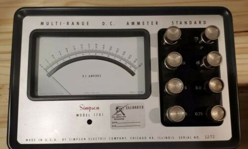 Simpson Model 1701 Multi-Range D.C. Ammeter Navy Calibrated Rare Military Use