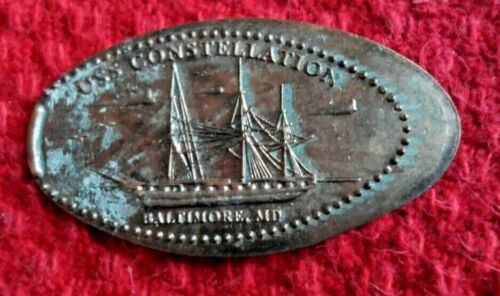 USS Constellation elongated penny Baltimore Maryland USA cent souvenir coin