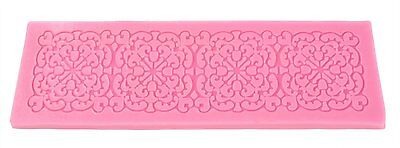 Longzand Molds HY1-134 DIY Cake Decorating Mold with Silicone Lace Mold Mat Pink