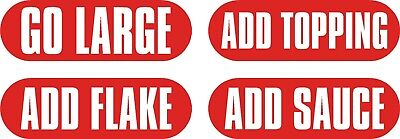 Ice Cream Stickers x72, ADD SAUCE, ADD FLAKE, ADD TOPPING & GO LARGE.