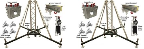 (2) Ground Support Truss Lifting Tower Roof System Chain Hoist Sleeve Outriggers