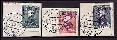 WK Sudetenland Karlsbad 57+58+59 gestempelt Briefstück (21455)