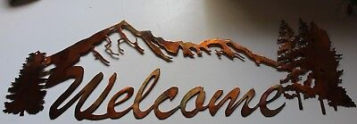 Art Welcome Sign - Mountain Welcome Sign Metal Wall Art Decor