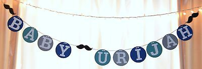 its a boy baby shower mustache customized name teal,blue,gray hanging banner (Baby Shower Mustache Decorations)
