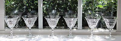Vintage 40s Cambridge Glass Etched Cut Crystal Stem Glass Set of 6 Lucia Pattern