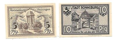 GERMANY NOTEGELD NOTES - RONNEBURG 5 & 10 PFENNING    NOTGELD NOTES(NN -39)
