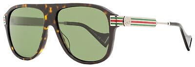 Gucci Square Sunglasses GG0587S 002 Havanna/Ruthenium Polarized 57mm (Gucci 57mm Sunglasses)