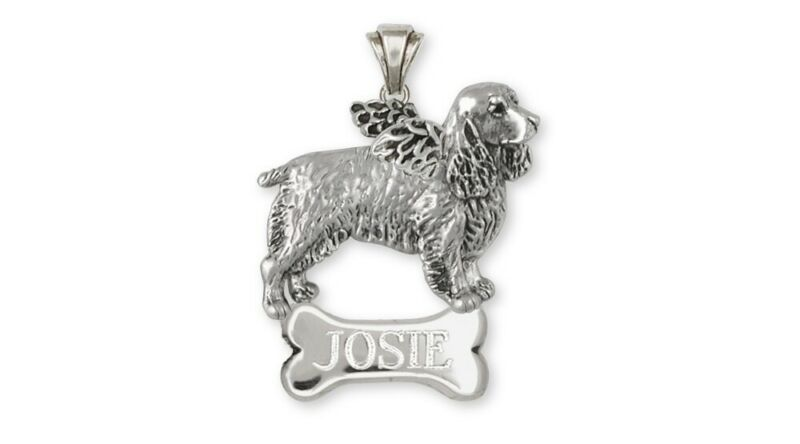 Springer Spaniel Angel Pendant Jewelry Sterling Silver Handmade Dog Pendant SS3-