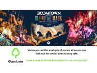 Boomtown festival tickets -- Read the ad description before replying!!