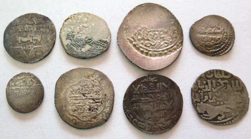 (8) 833 -1517 AD SILVER ISLAMIC DYNASTIES ABBASID -MAMLUK SULTANATE DIRHAM COINS