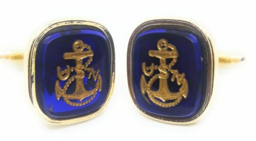NAVY ANCHOR CUFFLINKS 18KT GOLD PLATED