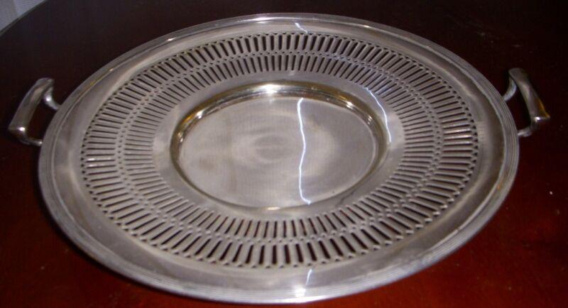 SHEFFIELD  silverplate  handled  CAKE PLATE ...PIERCED DESIGN