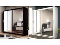 Luxury Dexter Sliding 2 Door German Wardrobe in Black and White Colors Same Day Delivery