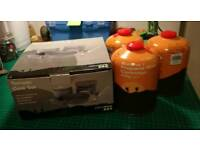 Camping Yellowstone tornado cook set and 3 gas new bottles