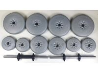 BRAND NEW YORK FITNESS WEIGHT SET - 2 DUMBBELLS WITH 30 KG 0F YORK WEIGHTS