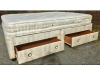 FURNITURE LAND KING SIZE x 4 SOLID DRAWER BED & MATTRESS - GOOD CONDITION - £75 ONO