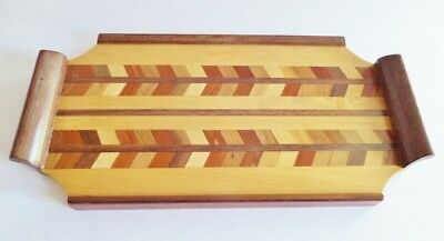 Vintage Wooden Marquetry Tray Intarsia Arrow Shaped Design Mid Century Small