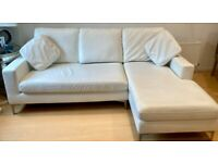 Great condition- White, faux leather, L shaped 3 seater from Dwell