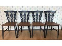 Set of 4 Ercol 375 Windsor Fleur de Lys dining chairs